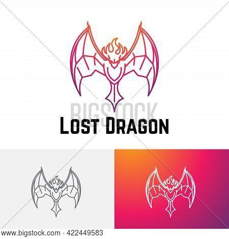 Lost Fire Head Dragon Flying Wings Line Logo