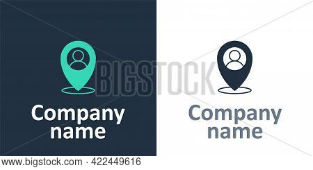 Logotype Map Marker With A Silhouette Of A Person Icon Isolated On White Background. Gps Location Sy