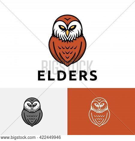 Wise Elders Old Beard Owl Bird Cartoon Logo