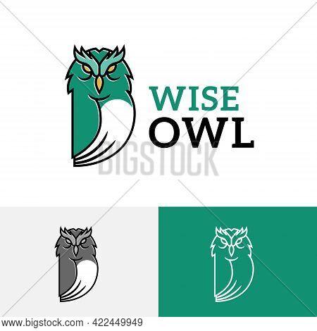 Wise Owl Bird Cute Animal Education Cartoon Logo