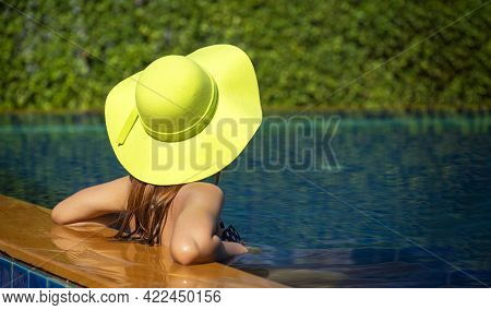 Summer Day Lifestyle Woman Relax And Chill Near Luxury Swimming Pool Sunbath At The Beach Resort Out