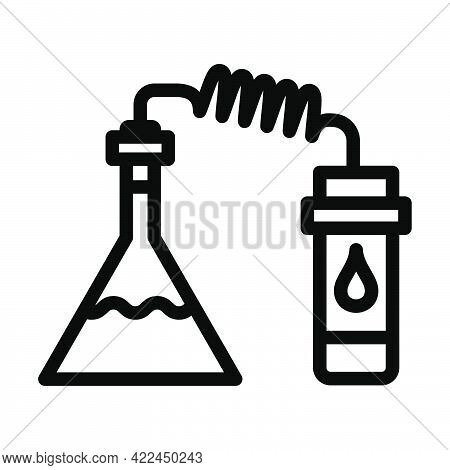 Icon Of Chemistry Reaction With Two Flask. Editable Bold Outline Design. Vector Illustration.