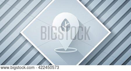 Paper Cut Vegan Food Diet Icon Isolated Paper Cut Background. Organic, Bio, Eco Symbol. Vegan, No Me