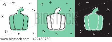 Set Bell Pepper Or Sweet Capsicum Icon Isolated Set Background. Vector