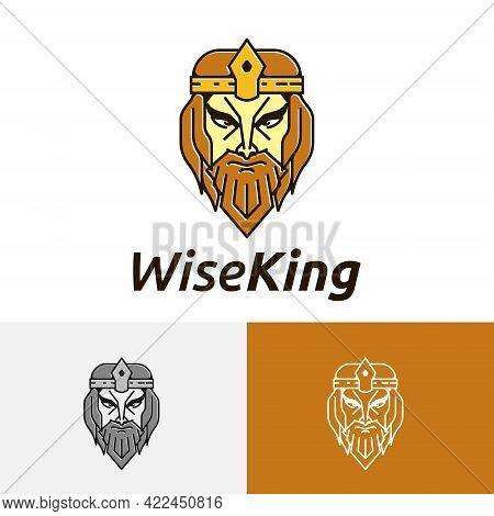 Wise Old Elders Golden Beard King Head Logo