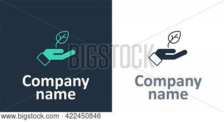 Logotype Plant In Hand Of Environmental Protection Icon Isolated Logotype Background. Seed And Seedl