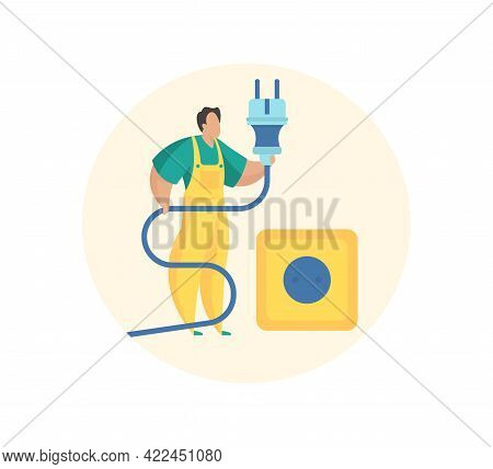 Wiring And Electricity Connection. Electrician With Plug In His Hands Checks Integrity Cable And Soc
