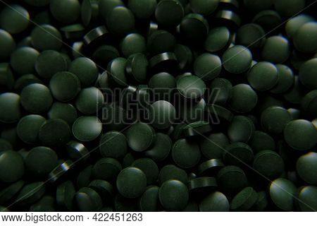 Spirulina Green Pills Background. Spirulina Algae Green Tablets.super Food.seaweed.