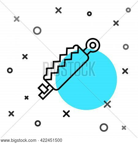 Black Line Trap Hunting Icon Isolated On White Background. Random Dynamic Shapes. Vector