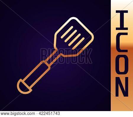 Gold Line Spatula Icon Isolated On Black Background. Kitchen Spatula Icon. Bbq Spatula Sign. Barbecu