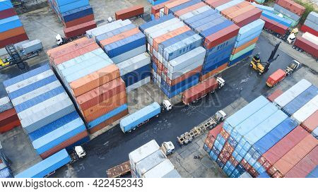Containers In The Port, Shipping Transportation Concept And Discharging Containers Services In Marit
