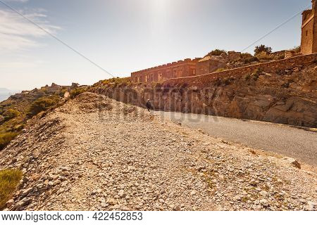 Tourist Person Visit Fortification Area Battery De Castillitos In Spain Cartagena, Cabo Tinoso. View