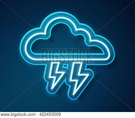 Glowing Neon Line Storm Icon Isolated On Blue Background. Cloud And Lightning Sign. Weather Icon Of