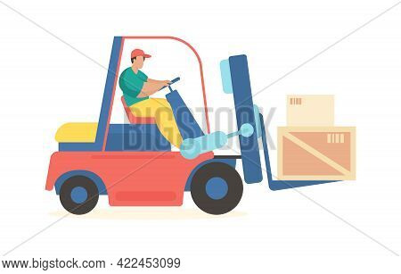Forklift Is Carrying Boxes. Industrial Transportation Goods And Containers To Warehouse. Man In Unif