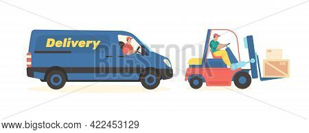 Freight Transport Delivery Service. Transportation Minibuses And Trucks Loaded With Forklifts. Distr