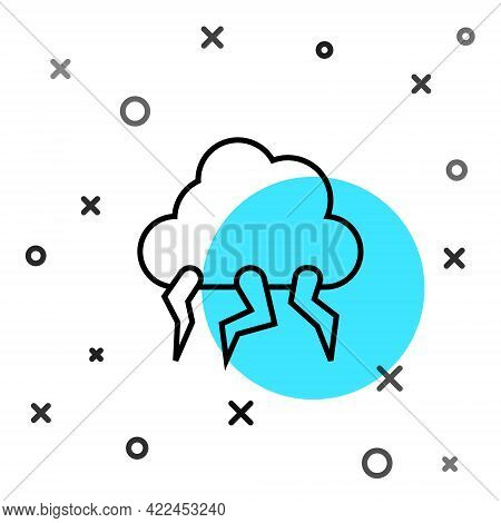 Black Line Storm Icon Isolated On White Background. Cloud And Lightning Sign. Weather Icon Of Storm.