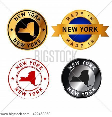 New York City Badge Gold Stamp Rubber Band Circle With Map Shape Of Country States America