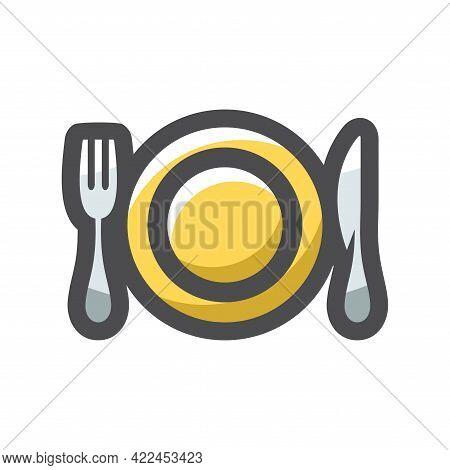Crockery Cutlery Plate Fork Spoon Vector Icon Cartoon Illustration.