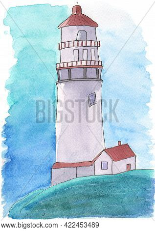 Watercolor Drawing Of A Lighthouse. Lighthouse By The Sea. Childrens Illustrations. Print For Wallpa
