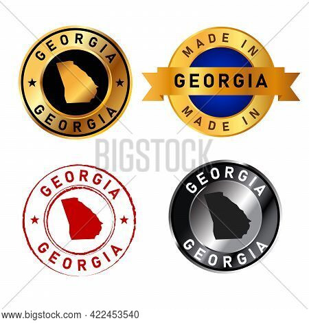Georgia Badges Gold Stamp Rubber Band Circle With Map Shape Of Country States America