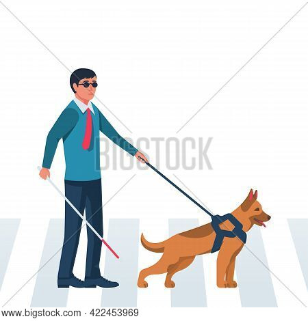 Template Landing Page Blind Man Character With Guide Dog. Person With Pet Companion. Human With A Wh