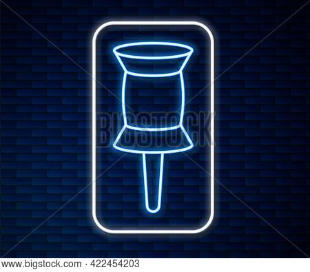 Glowing Neon Line Push Pin Icon Isolated On Brick Wall Background. Thumbtacks Sign. Vector