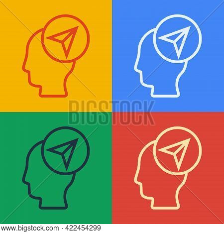 Pop Art Line Map Marker With A Silhouette Of A Person Icon Isolated On Color Background. Gps Locatio