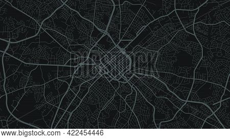 Black And Dark Grey Charlotte City Area Vector Background Map, Streets And Water Cartography Illustr
