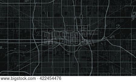 Black And Dark Grey Oklahoma City Area Vector Background Map, Streets And Water Cartography Illustra