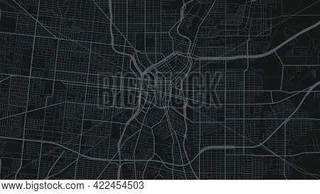 Black And Dark Grey San Antonio City Area Vector Background Map, Streets And Water Cartography Illus