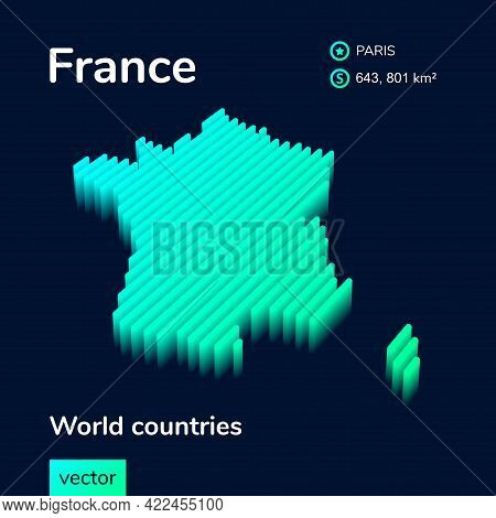 Stylized Striped Vector Isometric 3d Map Of Gabon. Map Of Gabon Is In Neon Green And Mint Colors On