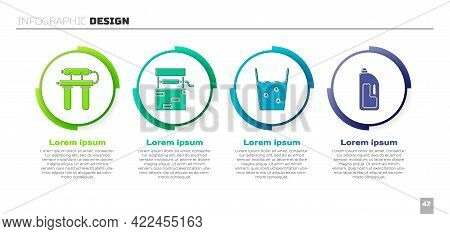 Set Water Filter, Well, Glass With Water And Container With Drain Cleaner. Business Infographic Temp