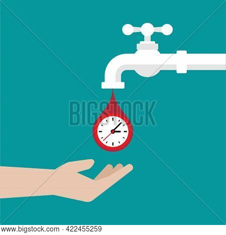Hand With Tap Or Faucet With Time Drops. Clock With Limited Offer, Deadline Concept. Time Flow, Fast