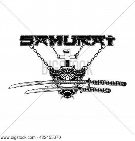 Drawing Of A Samurai Battle Mask On The Background Of Swords. Mythical Japanese Warrior. Hieroglyphs
