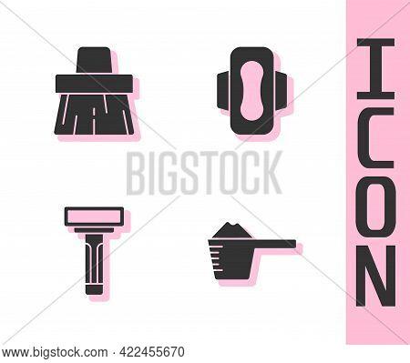 Set Washing Powder, Handle Broom, Shaving Razor And Sanitary Napkin Icon. Vector