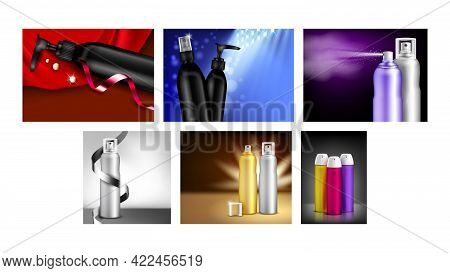 Hairspray Creative Promotional Posters Set Vector. Hairspray Different Blank Sprayers Bottles Collec