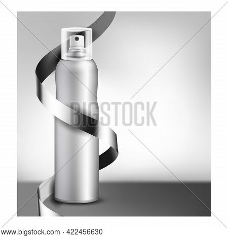 Professional Hairspray Promotional Banner Vector. Hairspray Blank Metallic Bottle Sprayer And Ribbon