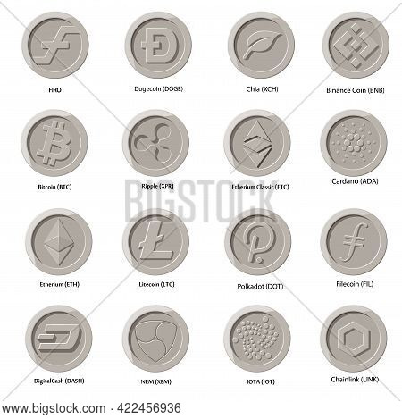Crypto Currency Icons Coin Set Of Nine