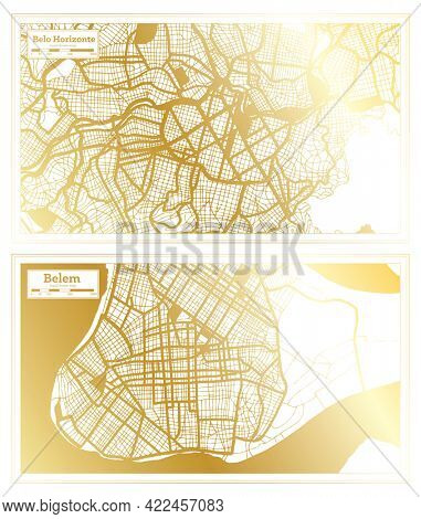 Belem and Belo Horizonte Brazil City Map Set in Retro Style in Golden Color. Outline Map.