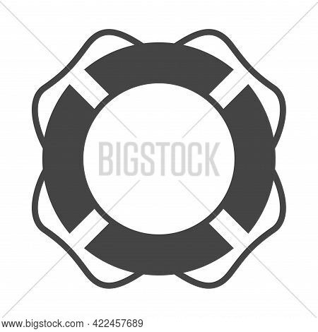 Monochrome Striped Lifebuoy Icon Vector Illustration. Life Buoy Rubber Equipment Emergency In Water