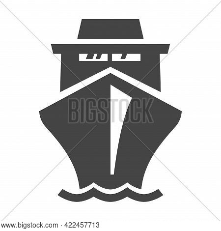 Simple Monochrome Liner Icon Vector Flat Illustration. Front View Huge Cruise Ship Isolated