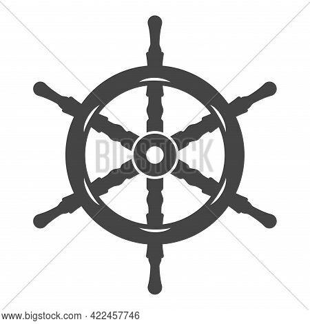 Naval Ship Steering Wheel Icon Vector Flat Illustration. Vintage Rudder Cruise Navigation Isolated