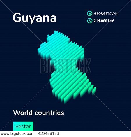 Striped Isometric  Neon Vector Guyana Map In Trend Colors With 3d Effect. Geography Infographic Card