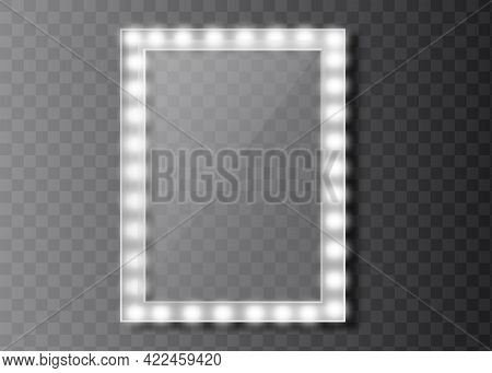 Makeup Mirror Isolated With Golden Lights. Vector Illustration
