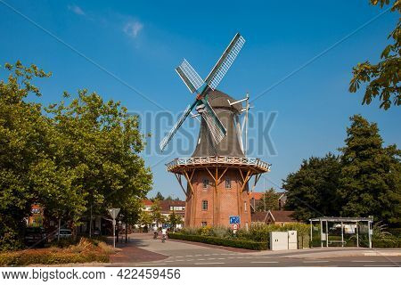 Old Windmill In The City Center Of Papenburg, Emsland, Lower Saxony, Germany