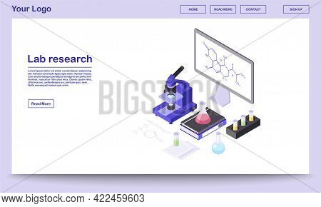 Lab Research Tools Isometric Webpage Template. Modern Laboratory Equipment, 3d Microscope, Beakers.