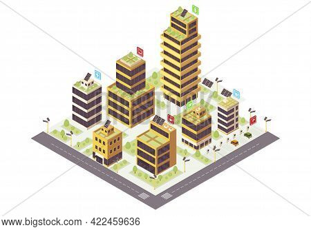 Eco City Isometric Color Vector Illustration. Commercial Buildings With Solar Grids Infographic. Sma