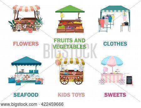 Street Market Stalls Flat Vector Illustrations Set. Fair, Funfair Trade Tents, Outdoor Kiosks And Ca