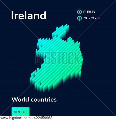 Stylized Striped Vector Isometric 3d Map Of Ireland. Map Of Ireland Is In Neon Green And Mint Colors