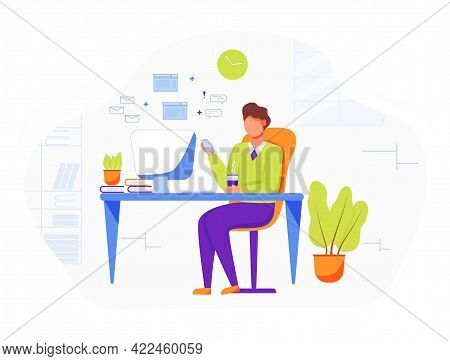 Office Worker Flat Vector Illustration. Businessman, Boss Drinking Coffee. Comfortable Workplace Wit